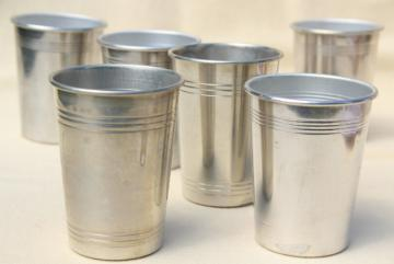 mid-century mod spun aluminum tumblers for travel bar, camp cup drinks glasses