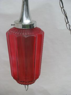 Mid-century mod swag lamp ceiling light, red stain glass shade w/ diffuser