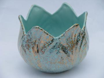 Mid-century mod turquoise & gold spatter flower pot planter, retro art pottery