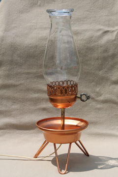 Mid-century mod TV lamp, retro vintage copper bowl tripod lamp w/ shade