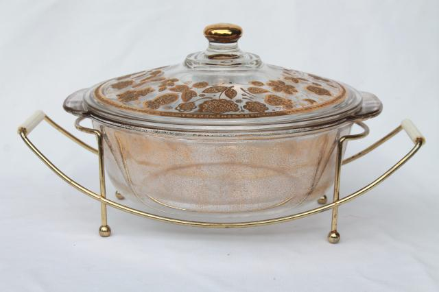 mid-century mod vintage Culver gold Fire King glass casserole dish w/ retro stand