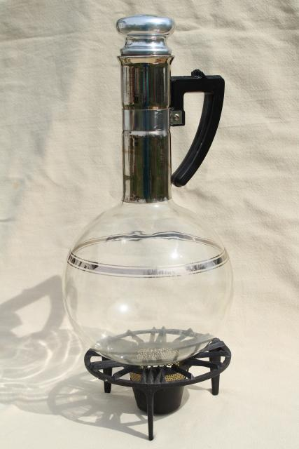 mid-century mod vintage Island glass coffee carafe, heat proof bottle w/ warming stand