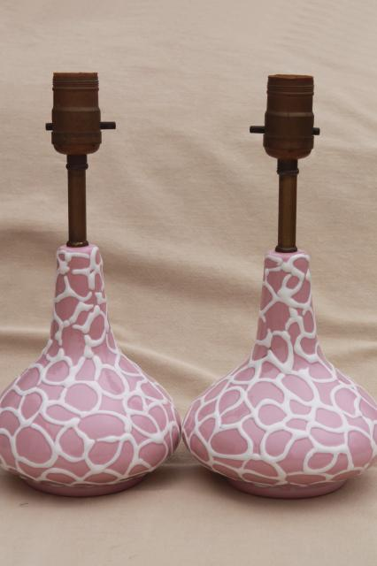 mid-century mod vintage Italian ceramic pottery lamps, early Raymor 50s pink!
