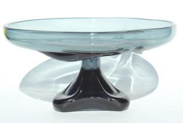 mid-century mod vintage Viking Epic smoke grey glass pedestal dish dessert stand