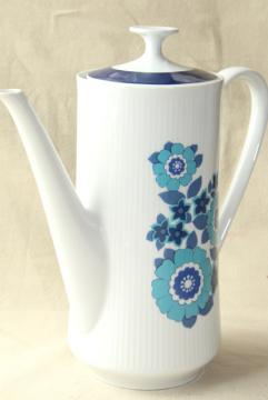 mid-century mod vintage blue daisy flowers coffee pot, Mitterteich Bavaria china