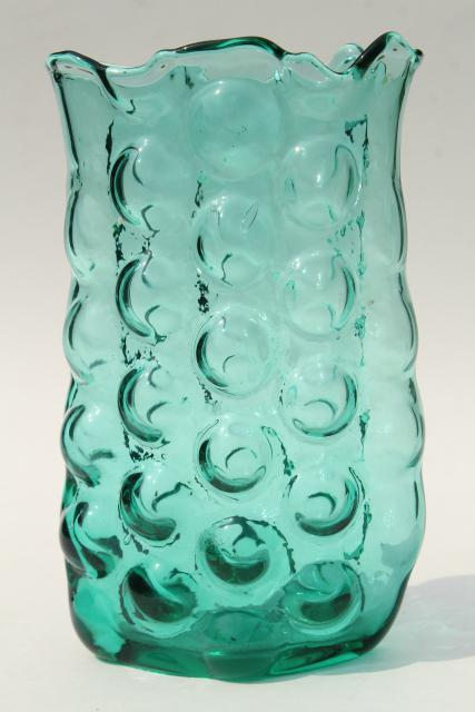 Mid Century Mod Vintage Bubble Hand Blown Blenko Art Glass Vase In