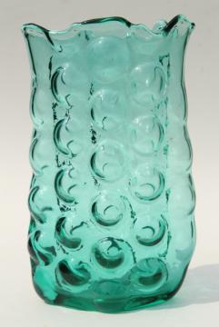 mid-century mod vintage bubble hand blown Blenko art glass vase in aqua green