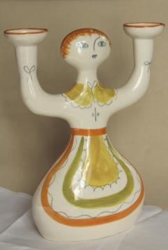 mid-century mod vintage ceramic candle holder, USA pottery girl w/ branching arms