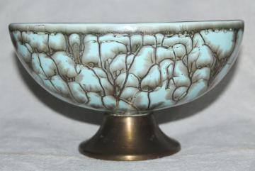 mid-century mod vintage ceramic planter, marbled aqua egg shape pedestal bowl