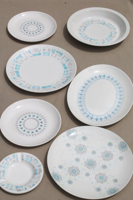 mid-century mod vintage china dinnerware mismatched modern design pottery in shades of blue & vintage china dishes and dinnerware