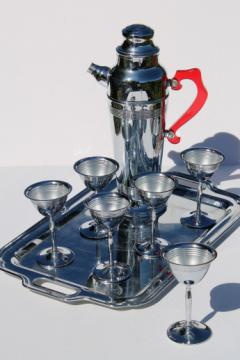 Mid-century mod vintage chrome martini set, tray, glasses, mixer pitcher w/ red handle