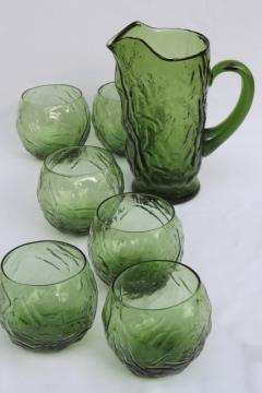 Mid-century mod vintage crinkled glass cocktail pitcher & round roly poly glasses