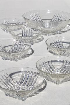 mid-century mod vintage deco style Park Avenue Federal glass salad bowls set