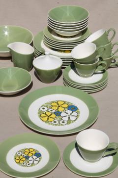 mid-century mod vintage dinnerware set for w/ retro blue & yellow daisy flowers
