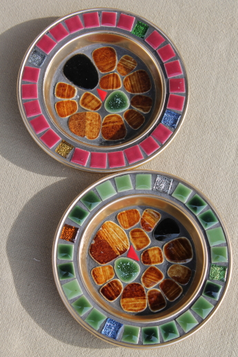 Mid Century Mod Vintage Drink Coasters Set With Colored