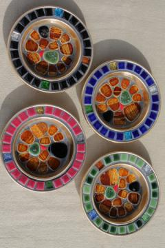 Mid-century mod vintage drink coasters set with colored mosaic work, made in Japan