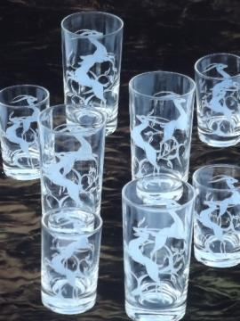 Mid-century mod vintage drinking glasses,  leaping gazelle bar glass set