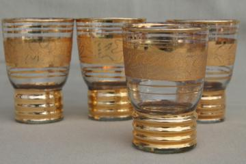 Mid-century mod vintage gold encrusted glass tumblers, retro bar drinks glasses set