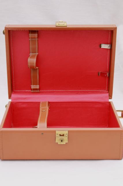 Mid Century Mod Vintage Leather Suitcase Portable Travel Bar Train