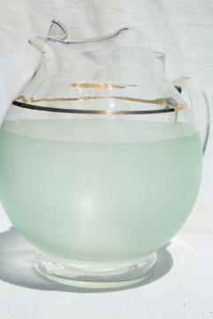 mid-century mod vintage lemonade pitcher, pale jade green frosted glass w/ gold band trim