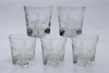 Mid-century mod vintage Libbey glasses, St. Regis textured glass tumblers w/ rocket shape