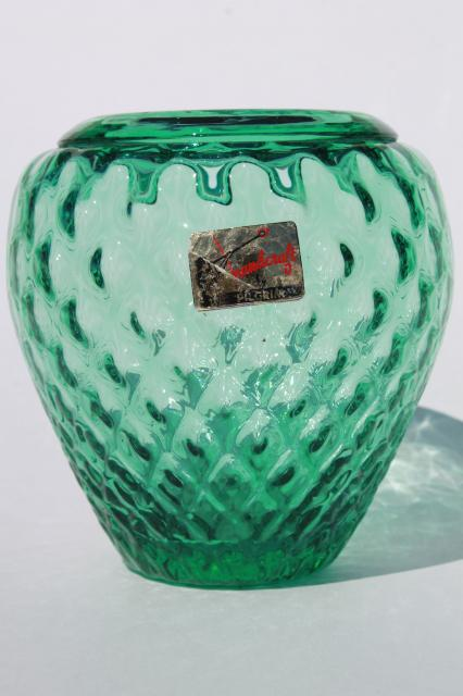 Mid Century Mod Vintage Mint Green Hand Blown Glass Vase Pilgrim West Virginia Art Glass