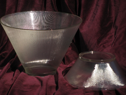 Mid-century mod vintage Norse prismatic ribbed glass punch bowl and glasses