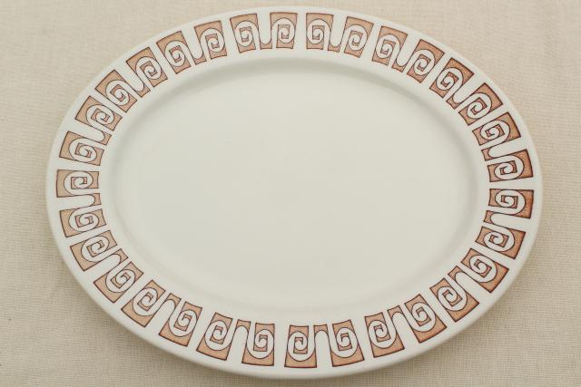 mid-century mod vintage pottery dinnerware, Olympia pattern Royal china made for Sears