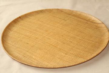 mid-century mod vintage raffiaware fiberglass serving tray w/ abaca burlap texture