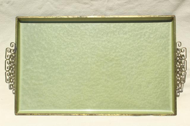 mid-century mod vintage serving tray, jade green enamel metal tray Kyes moire glaze