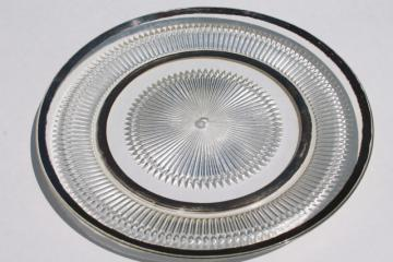 mid-century mod vintage silver band glass serving plate or round platter
