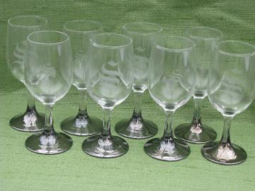 Mid-century mod vintage silver fade wine glasses, S monogram goblets