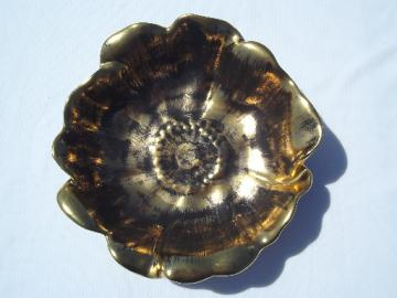 Mid-century mod vintage Stangl art pottery black gold flower shape bowl