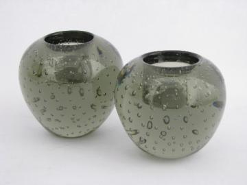 Mid-century mod vintage Sweden smoke grey controlled bubbles glass candlesticks