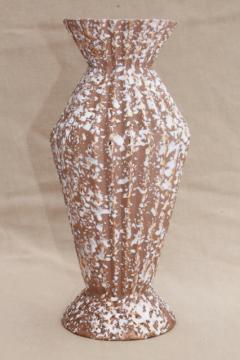 mid-century mod vintage tall ceramic vase, spatter textured glaze, Haeger pottery