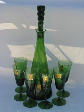 Mid-century mod wine set glass decanter & glasses italy