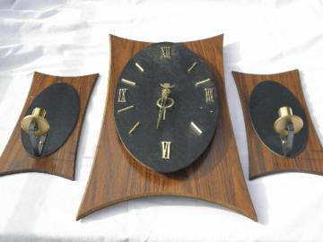 Mid-century modern 50s - 60s vintage clock & pair mod wall sconces