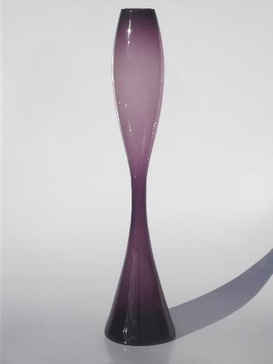 Mid Century Modern Art Glass Hourglass Vase W Tall Mod Bottle Shape