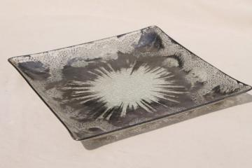 mid-century modern art glass tray, Dorothy Thorpe studio bent formed glass w/ applied silver