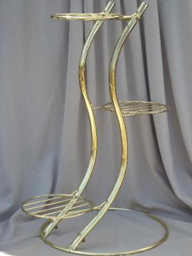 Mid-century modern brass plated plant stand, 70s retro tubular steel
