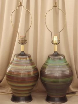Mid-century modern ceramic lamps, 50s 60s retro danish mod vintage