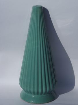 Mid-century modern lamp base,  vintage ceramic lamp body w/ aqua fins!