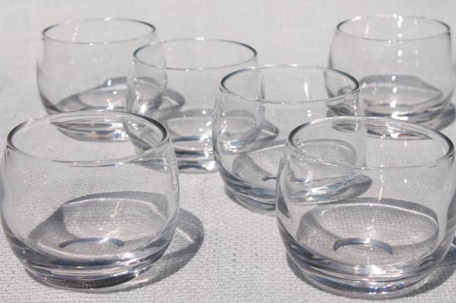 Mid Century Modern Roly Poly Bubble Glasses, Vintage Barware For Home Bar