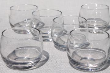 mid-century modern roly poly bubble glasses, vintage barware for home bar