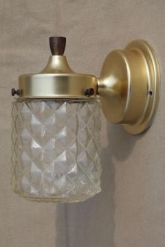 Mid-century modern spun aluminum wall sconce light w/ glass lantern shade