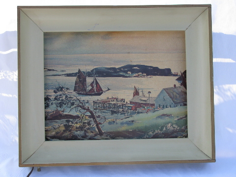 mid century modern steel art frame w built in picture light vintage 1950s