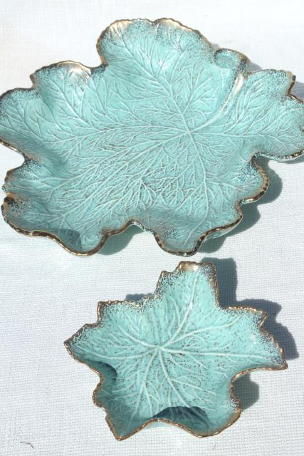 mid-century modern vintage California pottery chip & dip set, aqua / gold leaf shaped bowls