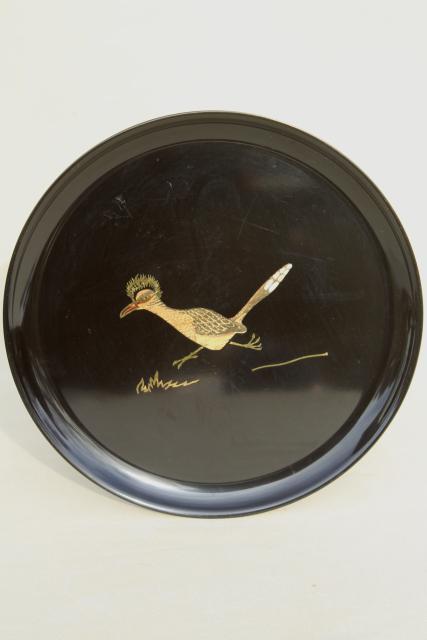 mid-century modern vintage Couroc inlaid melamine plate or tray w/ roadrunner & mid-century modern vintage Couroc inlaid melamine plate or tray w ...