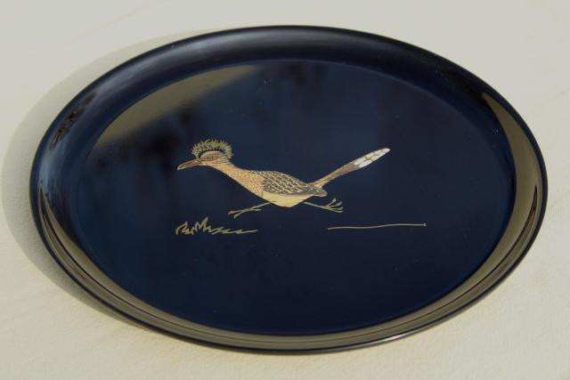 mid-century modern vintage Couroc inlaid melamine plate or tray w/ roadrunner