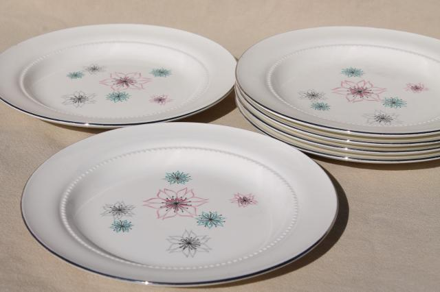 mid-century modern vintage Eastern china salad plates atomic mod pink u0026 aqua flowers & vintage china dishes and dinnerware